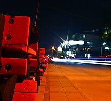 Red Benches At Night by vanyahaheights