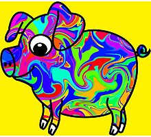 Colorful Pig Photographic Print