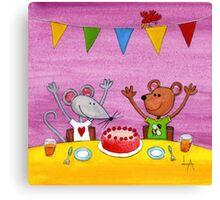 Mouse & Bear Party Canvas Print