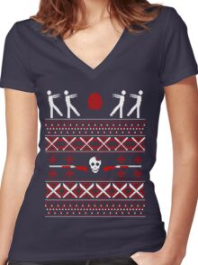 Zombie Christmas Shirt Women's Fitted V-Neck T-Shirt