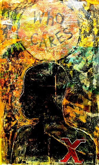 """Who Cares"" Collagraph Print by Belinda ""BillyLee"" NYE (Printmaker)"