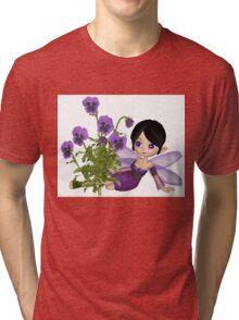 Cute Toon Purple Pansy Fairy, Sitting Tri-blend T-Shirt