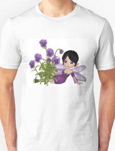 Cute Toon Purple Pansy Fairy, Sitting T-Shirt