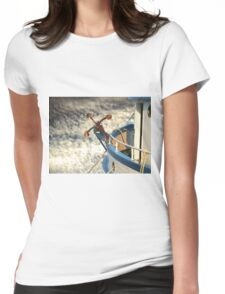 Boat with anchor in the sky Womens Fitted T-Shirt