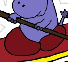 Cool Funny Purple Hippo in Kayak Sticker