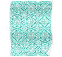 Kaleidoscope Flowers in Turquoise, White, and Tan Poster