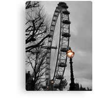 London Eye and street lamps Canvas Print