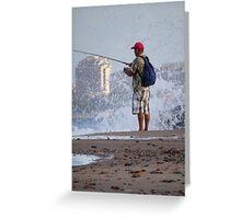 Sunday morning - fishing at the Pacific Ocean, Puerto Vallarta - Domingo en la mañana - pescando en el Oceano Pacifico, Puerto Vallarta Greeting Card