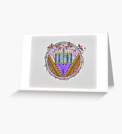 Hanukkah Menorah/3 - Feathers/3 Greeting Card