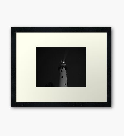 Lighthouse at Night Framed Print