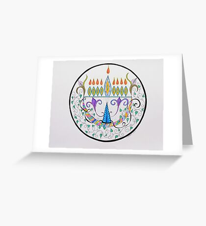 Hanukkah Menorah/1 Greeting Card