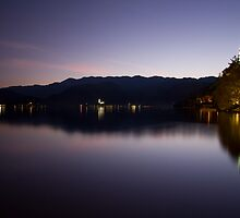 Bled lake at dusk by Ian Middleton