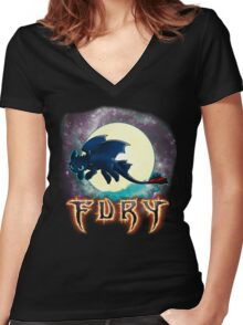 Toothless Dragon Night Fury Women's Fitted V-Neck T-Shirt