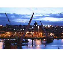 Peace Bridge under construction, Derry Photographic Print