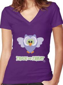 Sweet Owl Trick or Treat Women's Fitted V-Neck T-Shirt