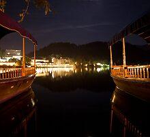 Bled lake at night by Ian Middleton