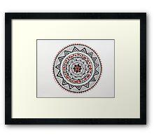 Mandala/13 - Red, Black, White Framed Print