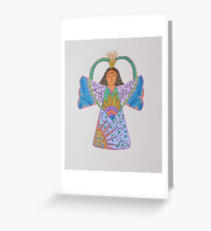 Angel/5 - Curly Hair Crown Burst Greeting Card