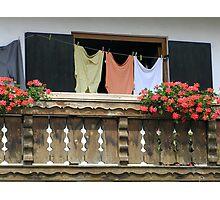Bavaria -  Clothesline and geraniums Photographic Print