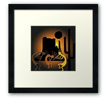 Southwest Kokopelli with Mesa and Cactus Framed Print