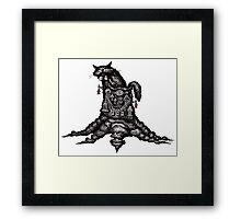 Cat on stump surreal black and white pen ink drawing Framed Print