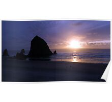 Haystack Sunset Poster