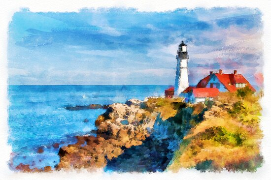 Portland Head Light - watercolour by PhotosByHealy