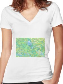 Dumbleyung Gum blossoms Blue Women's Fitted V-Neck T-Shirt