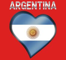 Argentina - Argentine Flag Heart & Text - Metallic One Piece - Long Sleeve