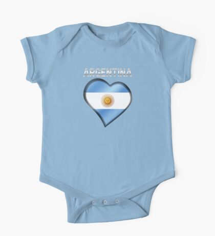 Argentina - Argentine Flag Heart & Text - Metallic One Piece - Short Sleeve