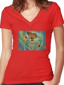 Summer's Wings Women's Fitted V-Neck T-Shirt