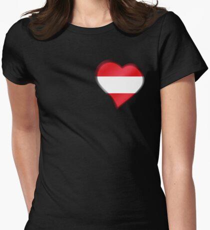 Austrian Flag - Austria - Heart Womens Fitted T-Shirt