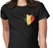 Belgian Flag - Belgium - Heart Womens Fitted T-Shirt