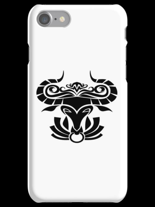 Taurus Black iPhone case by elangkarosingo