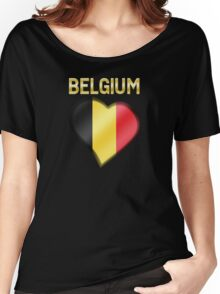 Belgium - Belgian Flag Heart & Text - Metallic Women's Relaxed Fit T-Shirt