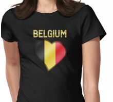 Belgium - Belgian Flag Heart & Text - Metallic Womens Fitted T-Shirt