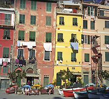 Vernazza - Clotheslines on the Cinque Terre by Maureen Keogh
