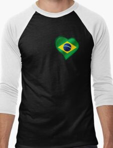 Brazilian Flag - Brazil - Heart Men's Baseball ¾ T-Shirt