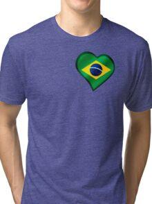 Brazilian Flag - Brazil - Heart Tri-blend T-Shirt