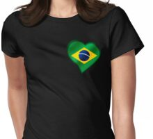 Brazilian Flag - Brazil - Heart Womens Fitted T-Shirt