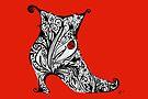 Vintage Boot Doodle Red by Jacqueline Eden