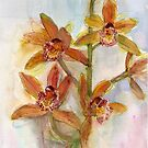 Orchid in watercolour from life by Karin Zeller
