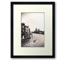 The Grand Canal, Venice, in black and white Framed Print