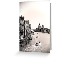 The Grand Canal, Venice, in black and white Greeting Card