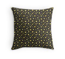 Black and Gold Foil Polka Dots Throw Pillow