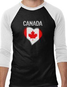 Canada - Canadian Flag Heart & Text - Metallic Men's Baseball ¾ T-Shirt