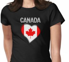 Canada - Canadian Flag Heart & Text - Metallic Womens Fitted T-Shirt
