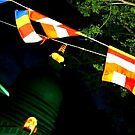 Colorful Flags cooled by breezing at the temple by True Cinema Movement
