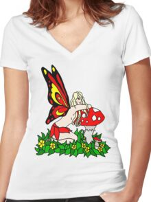 Sassy Faerie and Mushrooms Women's Fitted V-Neck T-Shirt