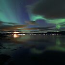 Descending moon & Aurora Borealis by Frank Olsen